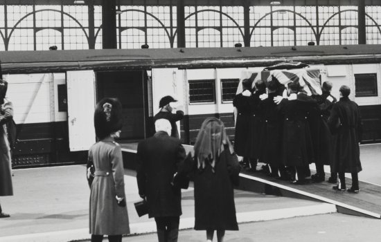 Churchill's coffin being loaded onto baggage van