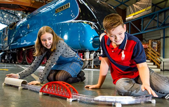 Future Engineers Amelia Betts, 12, from York and Charlie Hobson, 10, from Leeds at the National Railway Museum