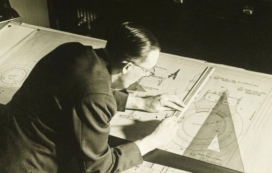 A Draughtsman working on the drawing of the connecting rod big end for British Railways Standard Class 5, 6 and 7 locomotives at Doncaster Works in about 1958.