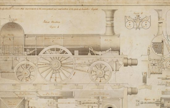 Drawing of improvements that could be made to parts of locomotives as specified by Robert Stephenson, by J Farey, 22 December 1841.