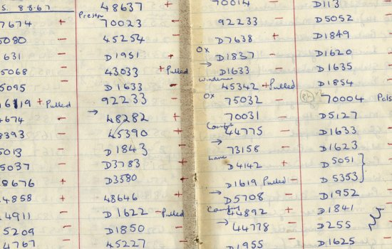Scanned pages from a trainspotter's notebook