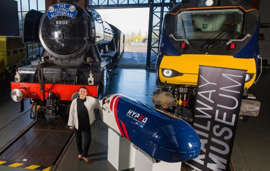 NRM Director Judith McNicol with Flying Scotsman. Prometheus and the Hyperloop prototype