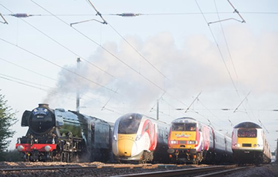 World-famous Flying Scotsman alongside an HST (Class 43), an InterCity225 (Class 91) and the Virgin Azuma (Class 800)