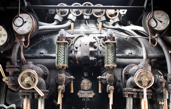 Detail of pipes and gauges inside a locomotive cab