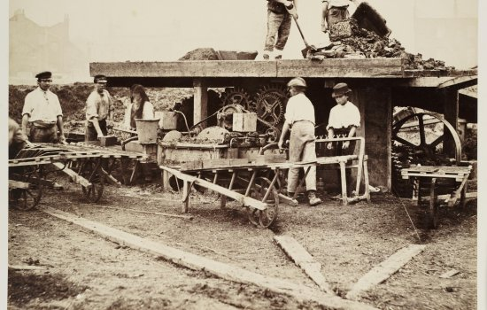 Sepia photo of navvies at work, 1865