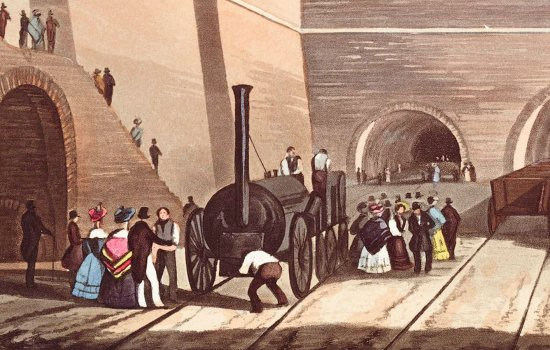 Detail of aquatint, Entrance of the Railway at Edge Hill, Liverpool. H. Pyall after T.T. Bury, 1831