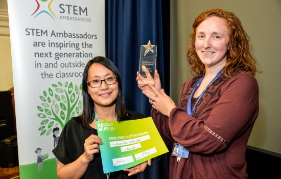 Stella Chan presents Ruth Burke from All Saints School with Excellence in STEM award