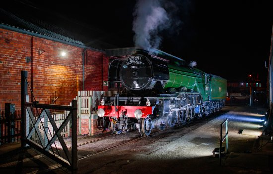 Flying Scotsman is illuminated at night