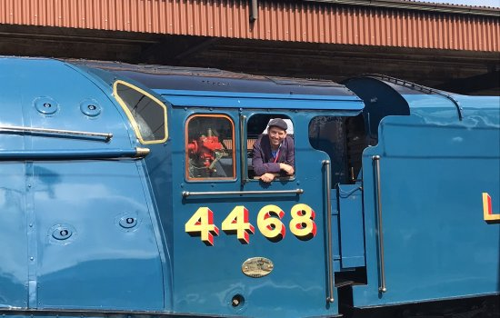 Chris Graham in the cab of Mallard