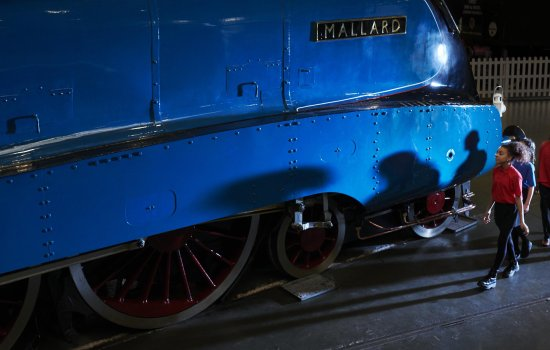 Schoolchildren walk past Mallard