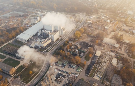 Aerial view of large factory