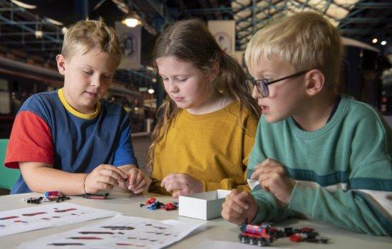 Children doing a LEGO activity