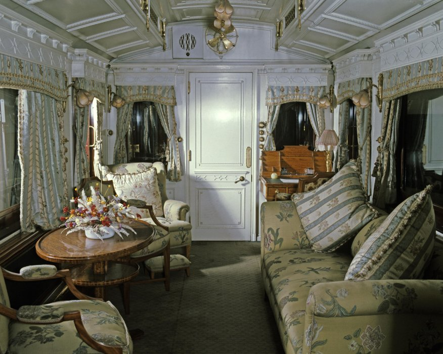 Interior view of Queen Alexandra's private coach, built in 1902