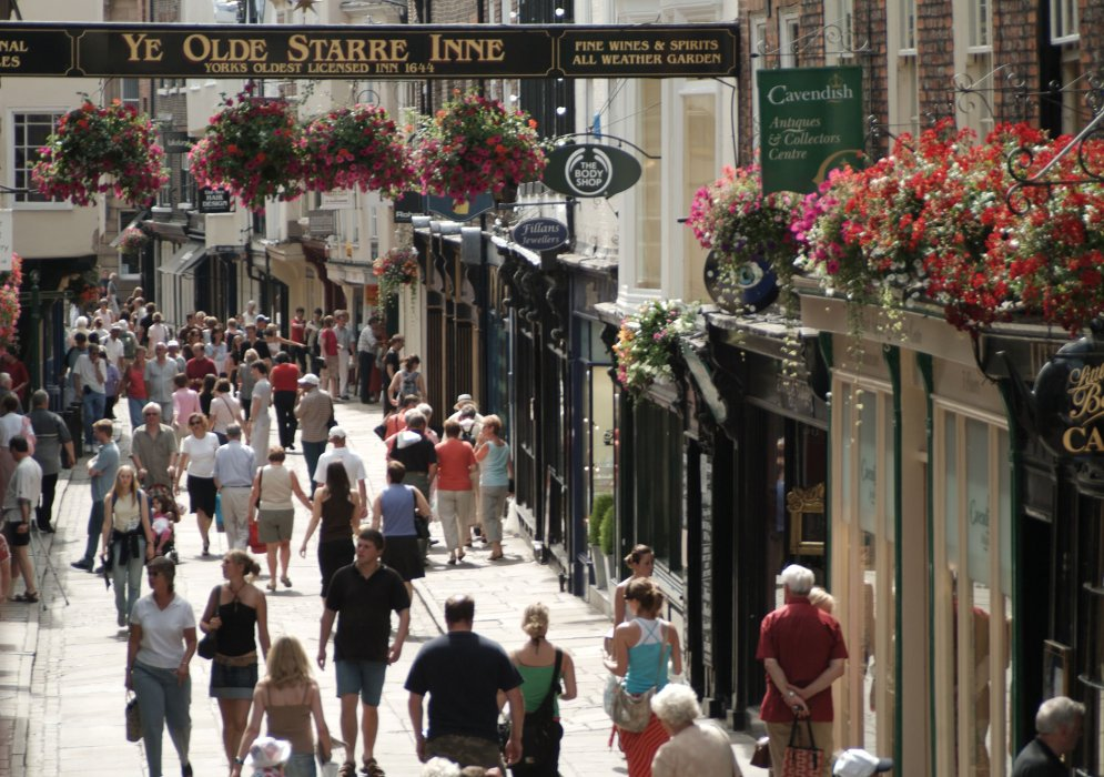 Shoppers along Stonegate in York