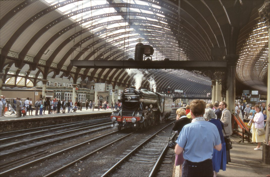 Colour photograph of crowds watching Flying Scotsman enter York station