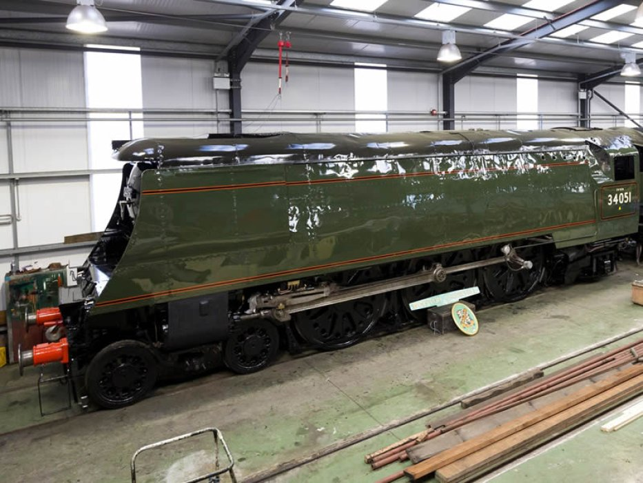 The nearly completed locomotive stands in Ropley workshops where it has been restored