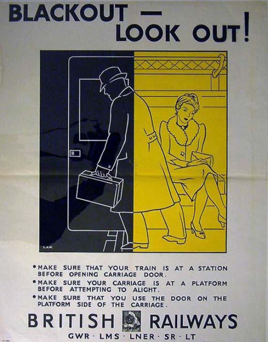 British Railways passenger safety poster, 1939-1945