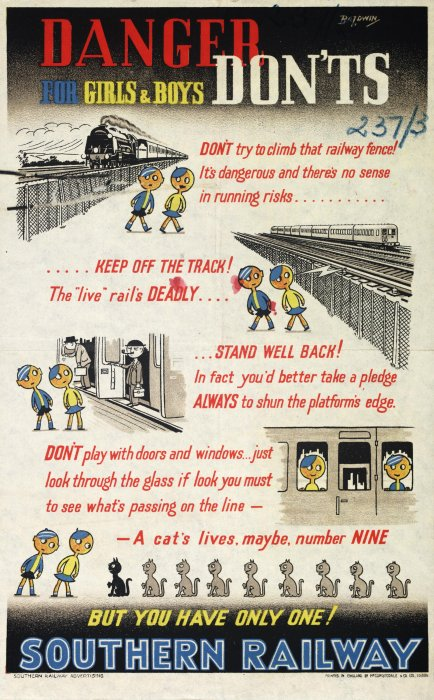 Southern Railway child safety poster, 1947