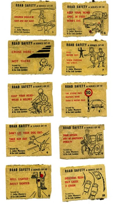 John Masters and Co. road safety matchbox labels, c.1950s