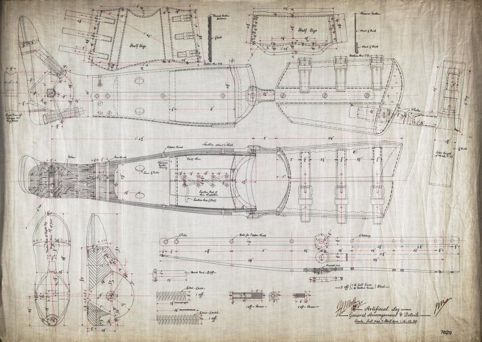 General arrangement and detail drawing of an artificial leg, London & North Western Railway, 1885