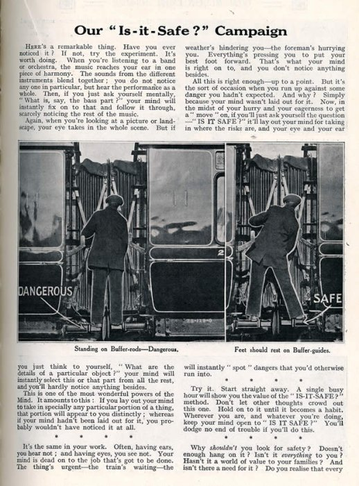 Great Western Railway Magazine safety article, March 1914
