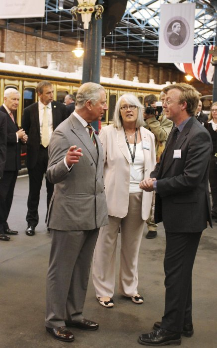 Prince Charles, curator Anthony Coulls and Head of Collections Helen Ashby at the reopening of Station Hall, 2013