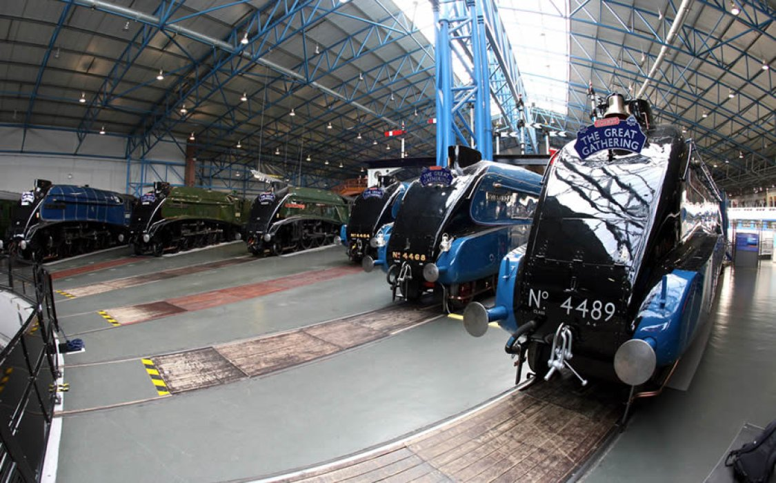 The classic line-up shot of the 6 A4 locomotives in Great Hall, York