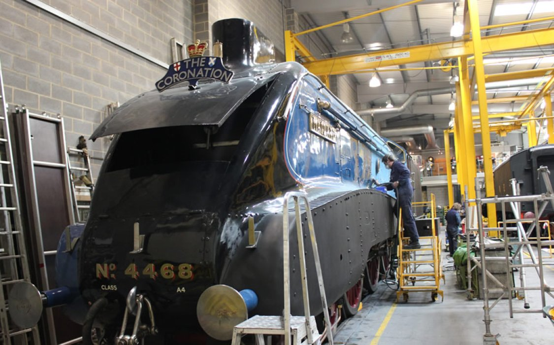 Mallard getting a freshen-up and re-paint in the National Railway Museum's workshop prior to the Great Gathering