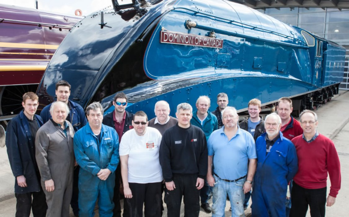 The team at Locomotion Shildon responsible for the restoration work of Dominion of Canada