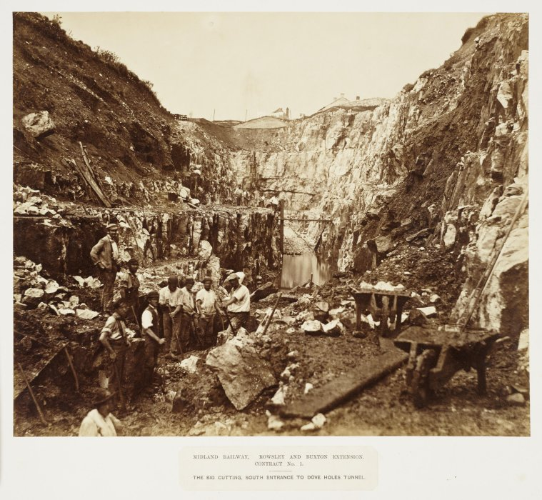 Sepia photo of navvies digging a cutting for Dove Holes railway tunnel, about 1861