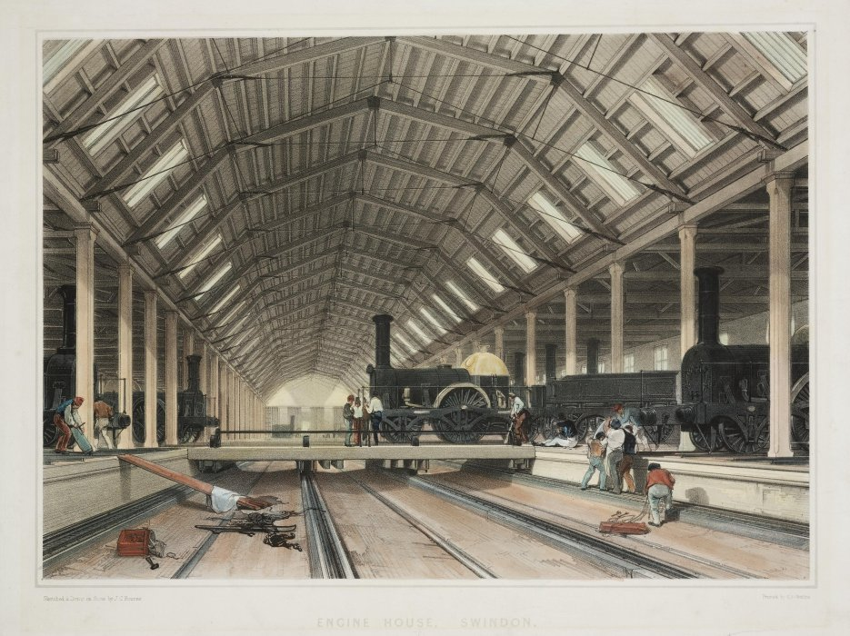 Coloured lithograph showing Engine House at Swindon by J.C. Bourne, printed by C.F. Cheffins, 1846