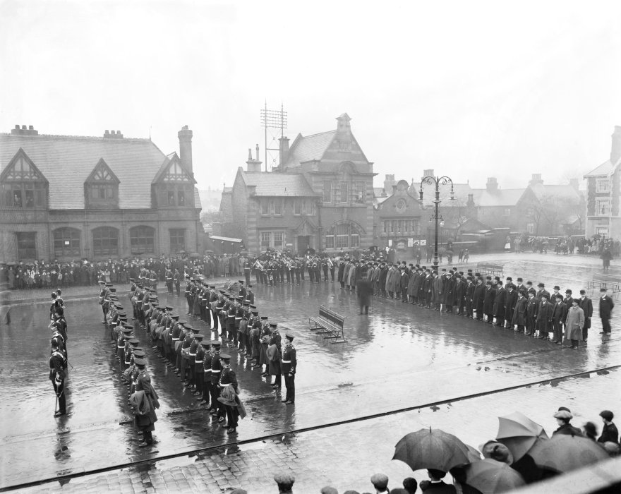 Parade of Territorial Army soldiers on the market square, Crewe, 17 March 1912.