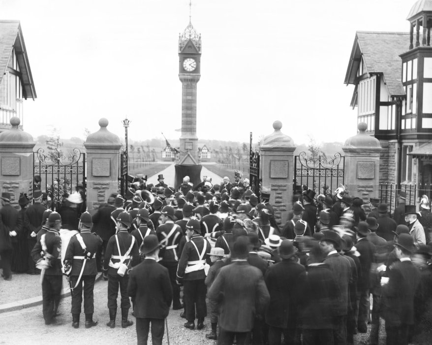 Crowds gathered for the opening of Queen's Park, Crewe, in 1890.