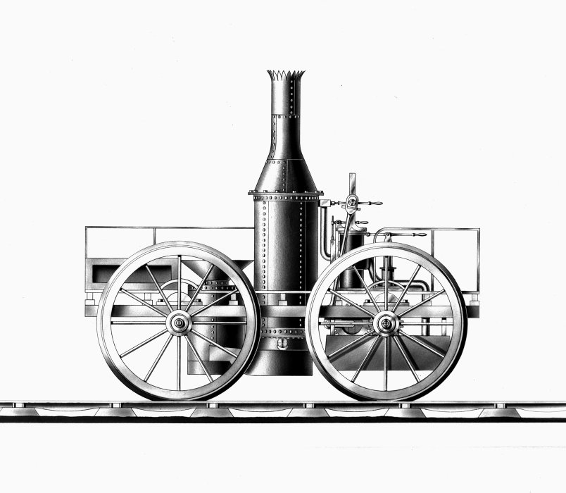 Drawing of Timothy Burstall's locomotive Perseverance