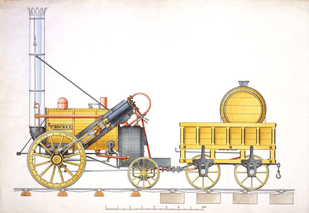 Coloured drawing of locomotive Rocket