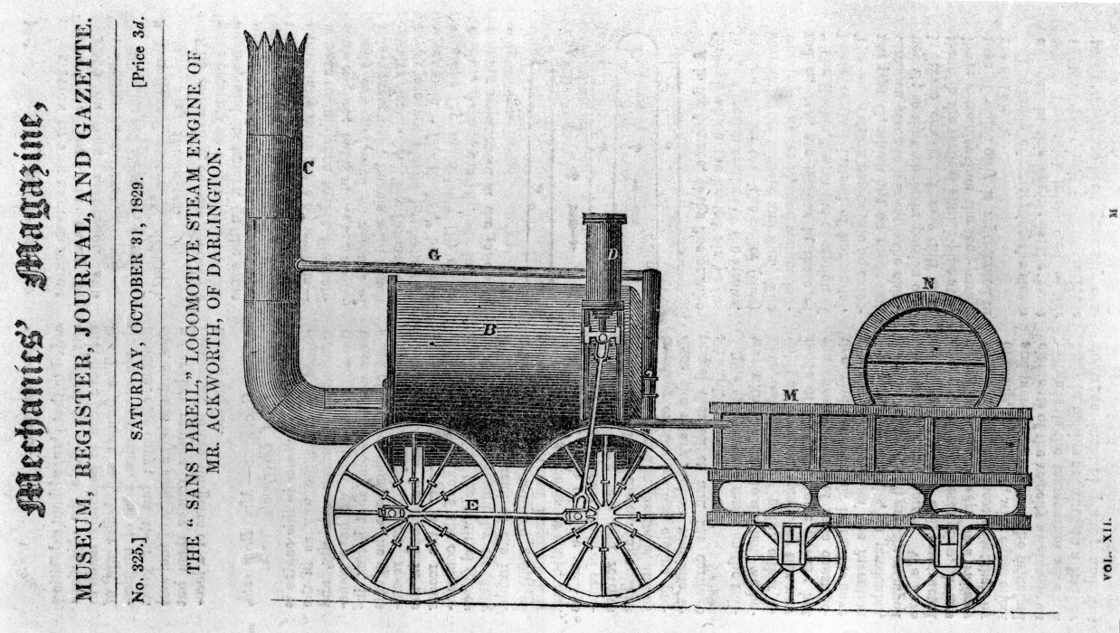Image of locomotive Sans Pareil in Mechanics Magazine, 31 October 1829