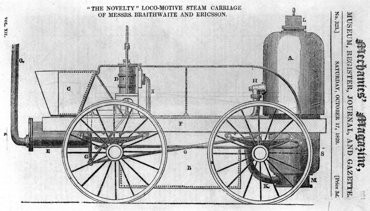 Image of locomotive Novelty, Mechanics Magazine, 17 Oct 1829