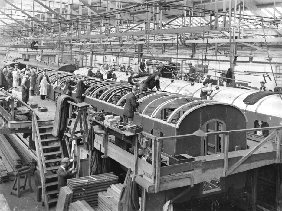 A railway carriage under construction