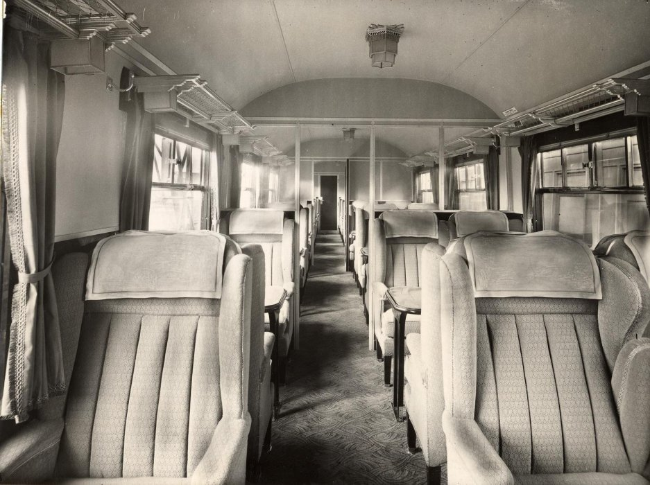 Inside a first-class carriage
