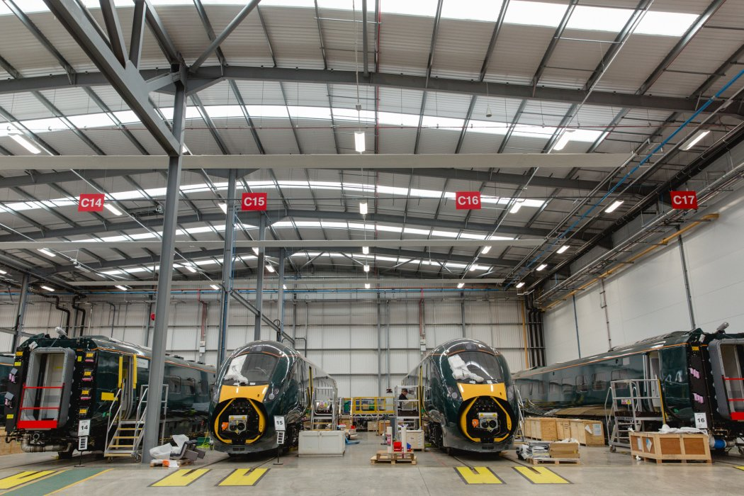 Inside the Hitachi workshop in Newton Aycliffe, County Durham, where its Class 800 trains are prepared