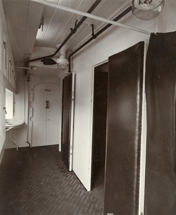 The door to a padded cell on an ambulance train, First World War