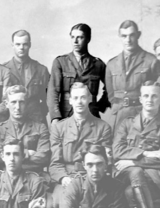 Photograph of First World War ambulance train staff with orderly Edmund Cooper highlighted