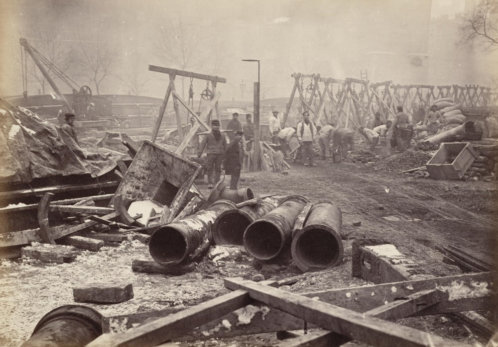 Sepia photograph of railway navvies building a cutting, 1861.