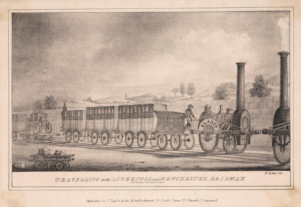 'Travelling on the Liverpool and Manchester Railway' print c.1831, Austen