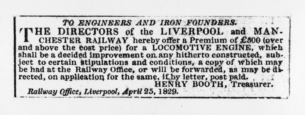 Advert for the Rainhill locomotive trials in the Liverpool Mercury, 1 May 1829