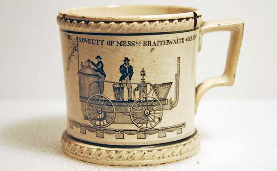 Ceramic mug depicting the locomotive Novelty, c.1829