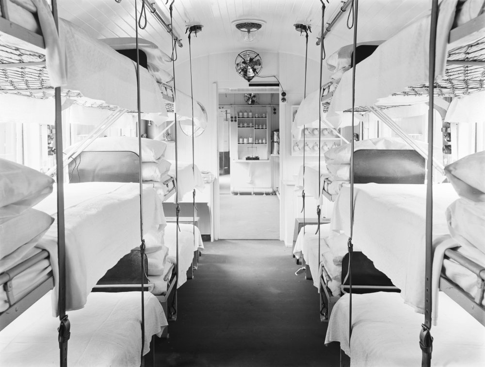 Ambulance train ward car ready for use, with triple bunks