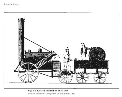 Early illustration of Rocket (Mechanics' Magazine, 28th November 1829)